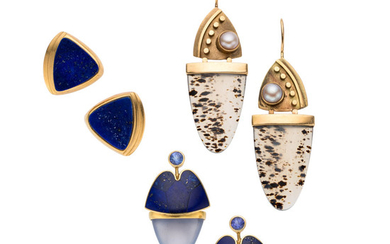 Multi-Stone, Gold Earrings The lot includes a pair of...