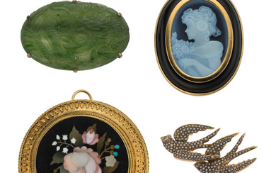 Multi-Stone, Seed Pearl, Gold Brooches The lot includes a...
