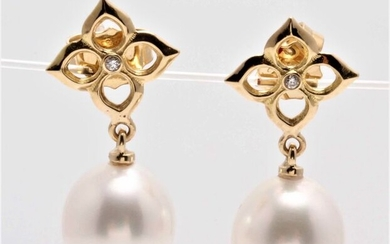 NO RESERVE PRICE - 14 kt. Yellow Gold - 10x11mm Lustrous South Sea Pearls - Earrings - 0.02 ct