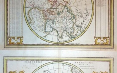 Northern & Southern Hemisphere, Northern & Southern Hemisphere (2 maps); G. M. Cassini - Emisfero Terrestre Settentrionale / Meridionale - 1789