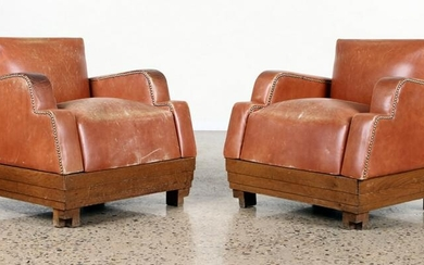 PAIR ART DECO LEATHER CLUB CHAIRS C. 1920