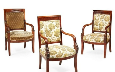 PAIR OF FRENCH EMPIRE STYLE MAHOGANY ARMCHAIRS 19TH
