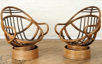 PAIR RATTAN SPRING LOADED RECLINING CHAIRS C.1950