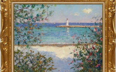 PIERRE BITTAR OIL ON CANVAS LAKE WITH LIGHTHOUSE