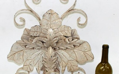 Painted iron wall sconce with acanthus leaves