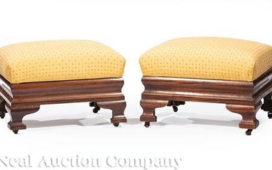 Pair of American Classical Mahogany Footstools