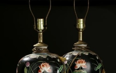 Pair of Chinese Famille Rose Vases, Lamps