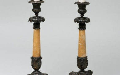 Pair of Empire Style Marble and Bronze Tripod