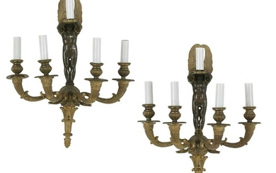 Pair of French Bronze Sconces in the Empire Style