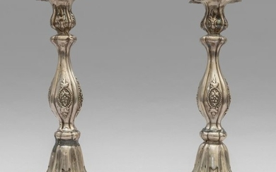 Pair of Louis Philippe candlesticks in silver, sec.XIXh...