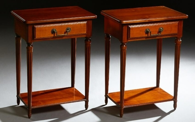Pair of Louis XVI Style Carved Cherry Nightstands, 20th