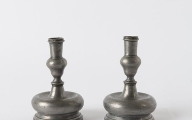 Pair of Pewter Candle Holders, circa 1800