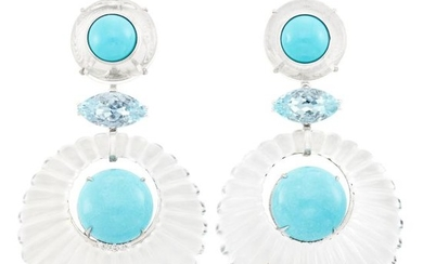 Pair of White Gold, Fluted Rock Crystal, Turquoise, Aquamarine and Diamond Pendant-Earclips