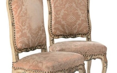 Pair of flat back chairs in carved lacquered wood. Arched legs.