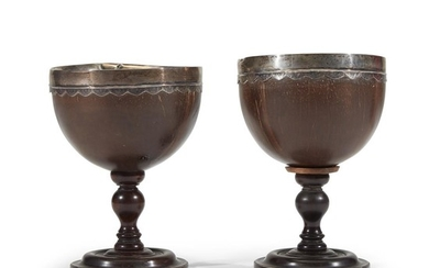 Pair of silver-mounted coconut goblets associated with Thomas Chalkley...