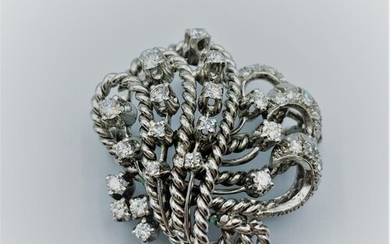 Platinum and diamond brooch, weight 12.6g