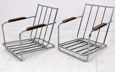 Pr HOWELL Low Lounge Chairs with No Cushions.