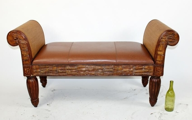 Pulaski leather and rattan rolled arm bench