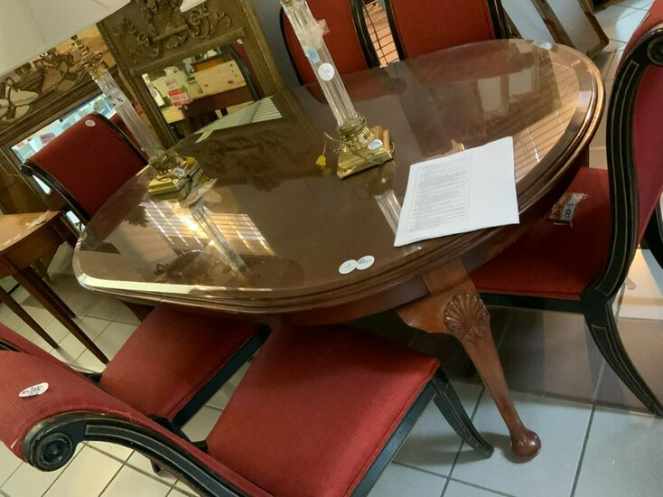 Queen Anne Style Glass Top Dining Table