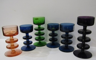 RETRO GLASS, a collection of 6 Wedgwood candlesticks