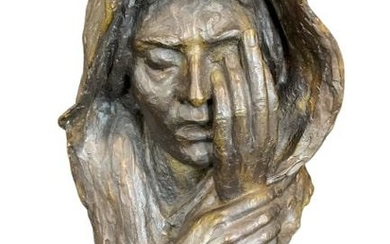 "RUTH LEE LEVENTHAL ""DOLOR"" BRONZE SORROW SCULPTURE"