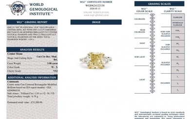 Radiant Cut Solitaire Diamond Ring 3.98ct W-X VS1 GIA