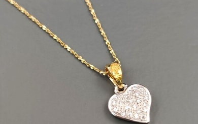 Re Carlo - 18 kt. White gold, Yellow gold - Necklace with pendant - 0.21 ct Diamond