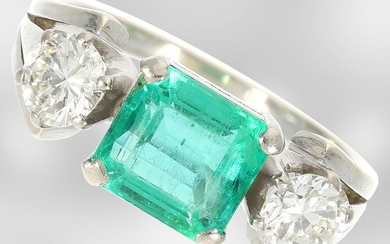 Ring: white gold vintage emerald/brilliant gold ring, emerald...