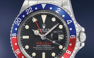 Rolex, Ref. 1675, inside caseback stamped 1675 A very rare and well preserved stainless steel dual time wrist watch with signature of Sheikh Mohammed Bin Rashid Al Maktoum, with box and punched guarantee