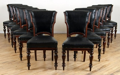 SET 12 WILLIAM IV STYLE WALNUT LEATHER DINING CHAIRS