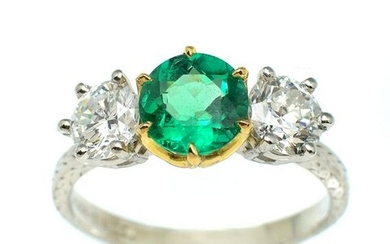 STUNNING PLATINUM & 18K EMERALD & DIAMOND RING