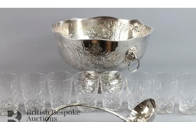 Silver plated punch bowl and ladle, chased foliate decoratio...