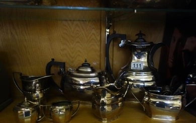 Silver plated tea set, comprising 4 items, silver plated cru...