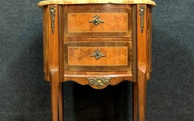 Small chest of drawers - Louis XV style - Marble, In precious wood marquetry on all sides - Late 19th century