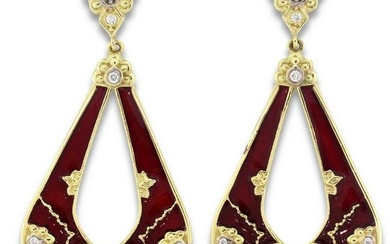 Stambolian Colors of Life Earrings with Red Enamel and