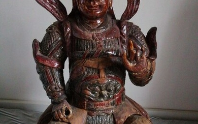 Statue - Lacquered wood, Wood, Polychrome wood - Warrior - China - 19th century