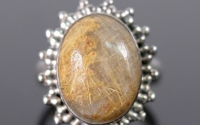 Sterling Silver & Brown Cabochon Stone Ring