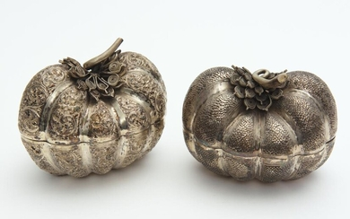 TWO CAMBODIAN SILVER PUMPKIN SHAPED BOXES, 13 CM WIDE (EACH), LEONARD JOEL LOCAL DELIVERY SIZE: SMALL