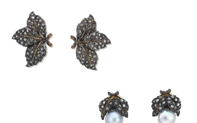 TWO PAIRS OF BUCCELLATI CULTURED PEARL AND DIAMOND EARRINGS