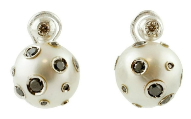 Tahiti Pearl, White & Black Diamonds Earrings