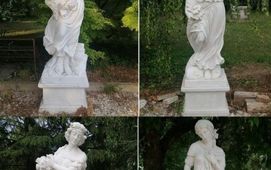 The 4 Seasons - Sculptures with base - H 223 cm - White marble - 21st century