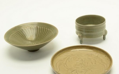 Three Chinese Celadon Glazed Porcelains.