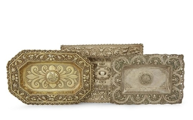 Three Spanish Colonial silver repoussé rectangular sideboard dishes Possibly...