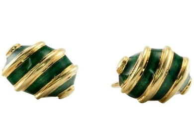 Tiffany Schlumberger Earrings Green Enamel 18K 14K Gold