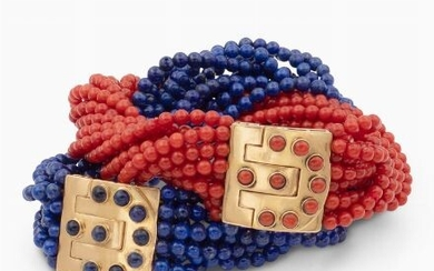 Tiffany & Co. two lapis lazuli and coral bracelets