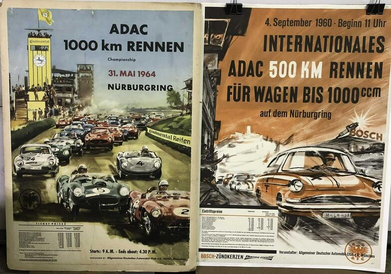 Two 1960's original Nurburgring posters