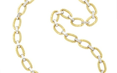 Two-Color Gold and Diamond Link Necklace/Bracelet Combination