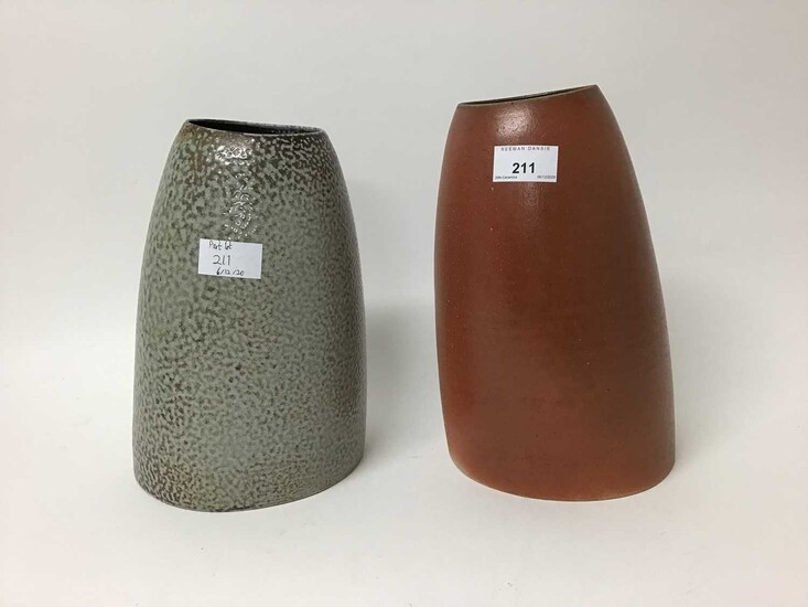 Two Jane Hamlyn studio pottery salt glazed vases - Dry Red 26.5cm high and Shiny 26cm high, both with monogram to base