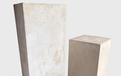 Two Modernist Pedestals In Stucco