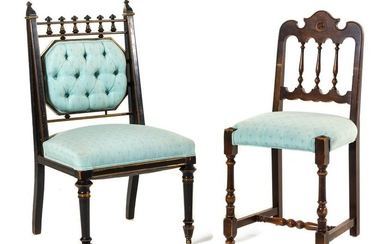 Two Victorian Side Chairs Height of tallest 38 x width
